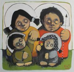 """Buy Family portrait, a Oil on Canvas by Gor Petrosyan from Armenia. It portrays: People, relevant to: painting, tempera, canvas, large painting, oil You will meet with these little men in my art very often.   They are a part of our soul. Our best part ...(like angels)  They are the best part of us we don't want to lose...  They are like our childhood..clear,pure,and honest..          -SIZE: 50 cm / 50 cm. ( 19.6 inch / 19.6 inch)    -TITLE: """" Family portrait""""    -MEDIU..."""