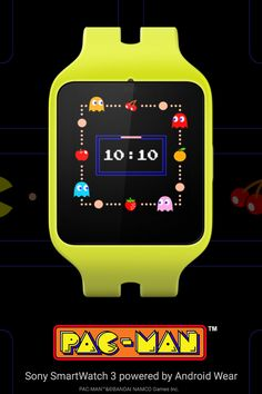 PAC-MAN Watch Face for Android Wear. Make your Android Wear watch your own with the retro cool of PAC-MAN. Learn more at www.android.com/wear. Download the watch face at https://play.google.com/store/apps/details?id=com.bandainamcogames.pacmanwatchface.