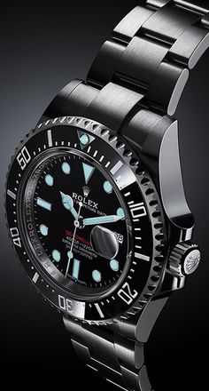 Rolex Watches New Collection : The blue luminescence of the Rolex Sea-Dwellers Chromalight display. Rolex Watches New Collection : The blue luminescence of the Rolex Sea-Dwellers Chromalight display. Rolex Watches For Men, Luxury Watches For Men, Sport Watches, Men's Watches, Amazing Watches, Beautiful Watches, Cool Watches, Black Rolex, Rolex Blue