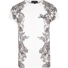 White side print T-shirt - print t-shirts - t-shirts / vests - men