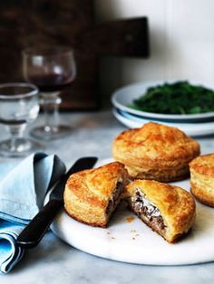 Duck and goat's cheese Pithiviers    (you could make this with any kind of meat, cheese and storebought puffpastry)