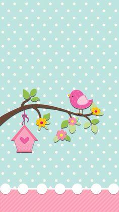 Iphone wallpaper cute little bird. Diy And Crafts, Paper Crafts, Cute Wallpapers, Iphone Wallpapers, Scrapbook Paper, Decoupage, Card Making, Clip Art, Baby Shower