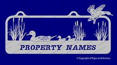 We make Custom Farm Signs and Property Signs. This one features some ducks having a lovely time in the pond