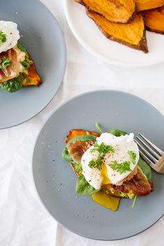 "Sweet Potato ""Toast"" with Avocado, Prosciutto and Poached Egg"