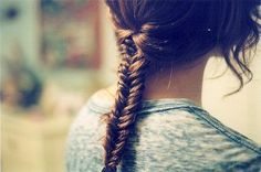 Fishtail braid. I used to do this with my hair when I was a kid. I think it might be long enough to do it again!