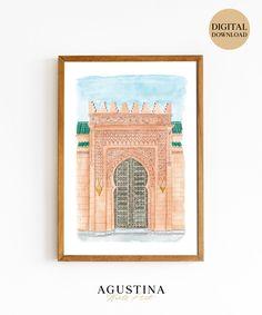 Moroccan Door Watercolor Art Print, Door Painting, Arabian Architecture, Door Wall Art, Morocco Cityscape, Moroccan door, Morocco Print Dinning Room Wall Decor, Chanel Wall Art, Moroccan Art, Fashion Wall Art, Digital Wall, Painted Doors, Wall Signs, Printable Art, Watercolor Paintings