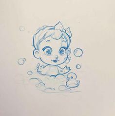 Very cute concept art sketch by Nicole Garber of a baby enjoying a bubble bath. Good example of cartooning character design