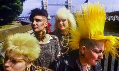 Bright young things: punk girls near Tower Bridge, London, circa 1985. Photograph: Alamy | The Bag I'm In: Underground Music and Fashion in Britain 1960-1990 #music #sociology #subculture