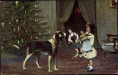 Künstler Ak Frohe Weihnachten, Mädchen mit Geschenken, Hund, Tannenbaum | eBay