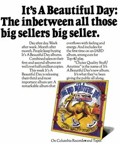 It's A Beautiful Day - Choice Quality Stuff/ Anytime.LP ad by Columbia Records