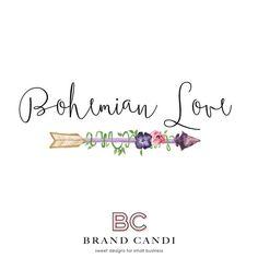 Premade Logo Design - Bohemian Logo - Watercolor Logo - Arrow Logo - Boutique Logo - Feather Logo - Boho Logo - Fashion Logo - Photographer