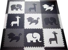 SoftTiles Safari Animals Kids Play Mat Sets with Borders Black, Gray, White