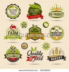 Organic and Ecology Web Icon and logo Set. Eco Logo Organic Food Label and Element Set easy editable for Your design. Retro logotype icon. - stock vector