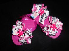 Barbie Flip Flops and matching headband by GrandmasBowsonETSY, $20.00