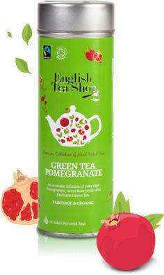 English Tea Shop – Bio gránátalmás zöld tea, 15 filter, 30 g