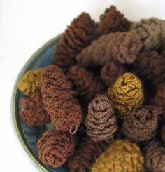 Pine Cone Ornament Crochet Decoration Holiday Decor Vase Filler - Dark Browns -  (6 Cones) by MontanaGirl on Etsy