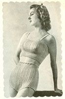 Vintage knitting pattern from a Bestway publication of sewing patterns available called 'Short length Lingerie', 1940's.