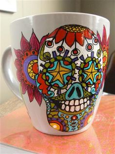 Colourful Sugar Skull day of the dead hand painted mug by rickolte, $36.00