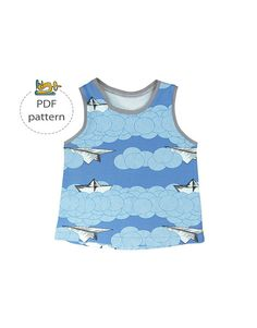 #baby #tank_top #pattern #modern #shirt #summer #clothes #baby_shirt #sewing_pattern #pdf #sewing Pdf Sewing Patterns, Baby Patterns, Baby Shirts, Unisex Baby, Baby Sewing, 6 Years, Top Pattern, Etsy, Tank Tops