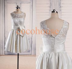 Ivory Lace Taffeta Short Prom Dresses Formal by cocohouse on Etsy, $92.00