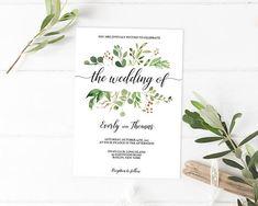 Nature Wedding Invitations, Woodsy Wedding Invitation Template, Woodland Wedding Invitation, Garden Wedding Invitation Edit, Green Weddings