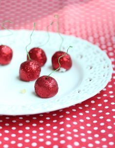 How to make glitter cherry toppers (edible except for the stems!)