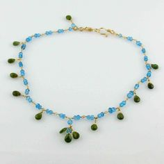 White Cloud Creations, Joseph Cozad, Necklace N79060, Mediterranean Blue Apatite And Green Tourmaline With 14K Gold Fill, Beaded, Handcrafted Necklace