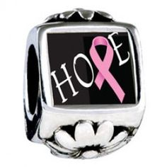 Hope Pink Ribbon Awareness European Charms  Fit pandora,trollbeads,chamilia,biagi and any customized bracelet/necklaces. #Jewelry #Fashion #Silver# handcraft #DIY #Accessory