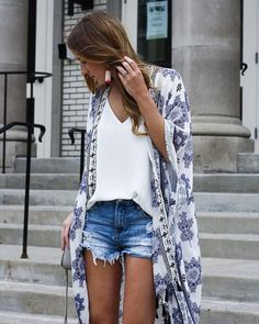 Extra long kimono cover up + shirt + shorts