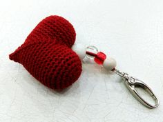 Love Keychain Red heart Gift for her Love Heart Love Gifts for girlfriend Gift for sister Gift for womens Crochet bag charm accessory hearts