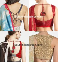 satya paul saree blouse back neck designs 563x600 photo