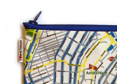 Zipper pouch with AMSTERDAM Map printed and blue zipper by efratul, $14.00
