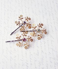Art Deco Flower Bobby Pins - Purple Crystal Flower Bridal Hair Pins Gold Flower Hair Pins Gold Flower Bridal Hair Accessories Elegant. $38.00, via Etsy.