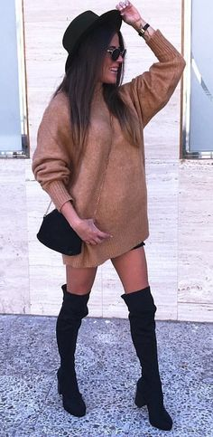 #fall #outfits women's brown sweater, pair of black boots , black hat outfit