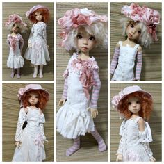 Two OOAK Handmade Spring Outfits for SD and MSD BJD by MeadowDoll...shown on Nelly SD and Hope MSD BJD by Kaye Wiggs
