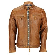 Xposed Mens Real Leather Washed Brown Black Vintage Zipped Smart Casual Biker Jacket: Amazon.co.uk: Clothing