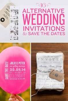 16 Alternative Wedding Invitations And Save The Date Wedding Paper, Diy Wedding, Wedding Favors, Dream Wedding, Wedding Invitations, Wedding Day, Balloon Wedding, Unique Invitations, Faire Part Invitation