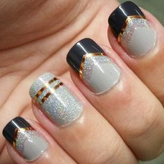 Purple, taupe, copper and holographic nails (By SaraDe)