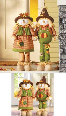 Cute Scarecrow Couple Fall Decoration