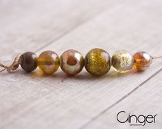 Gold   Set of Lampwork beads handmade round by GingerLampwork
