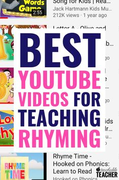 Teaching rhyming can be tough, but catchy videos and songs can make it easier! Here are three engaging videos for practicing rhyming in the classroom. Kindergarten Reading, Teaching Reading, Preschool Kindergarten, Learn To Read Kindergarten, Dyslexia Teaching, Guided Reading, Teaching Resources, Teaching Ideas, Reading Intervention