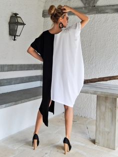 Black & White Dress Tunic / Black White Dress / Asymmetric Plus Size Dress / Oversize Loose Dress / #35070