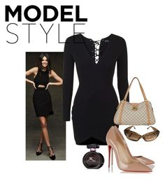 """""""Little Black Dress"""" by brandonandrews500 ❤ liked on Polyvore featuring Topshop, Christian Louboutin and Louis Vuitton"""