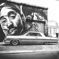 Street Art – Graffiti World Chevrolet Impala, 64 Impala, Arte Do Hip Hop, Hip Hop Art, Arte Lowrider, Tupac Wallpaper, Power Wallpaper, Tupac Pictures, Oldschool
