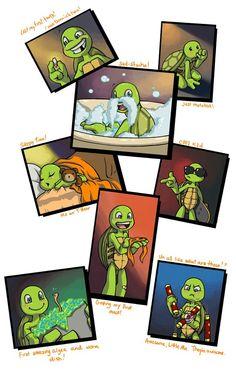 Mikey's baby photo album Ninga Turtles, Ninja Turtles Art, Teenage Mutant Ninja Turtles, Turtle Tots, Tmnt Mikey, Tmnt Girls, Tmnt 2012, Animation, Wattpad