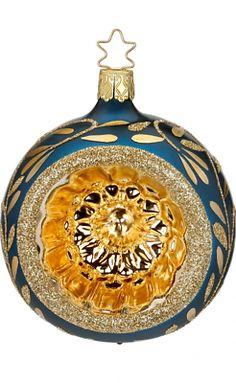 """Inge Glas """"Vintage Lightness"""" Blue (3.2""""-8cm) Ball Glass Orn-Made Germany (#462)"""