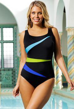 Longitude Blue Fan Club Plus Size Tank Swimsuit - plus sizes