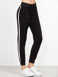 Shop Striped Side Drawstring Pants online. SheIn offers Striped Side Drawstring Pants & more to fit your fashionable needs.