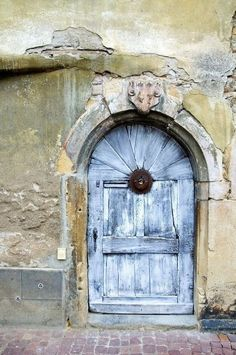 Blue door, curve, decay, wall, beauty, architechture, rustic, history, photograph, photo