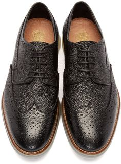 H By Hudson: Black Leather Harvey Brogues | SSENSE